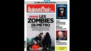 """O jornal """"Aujourd'hui en France"""" trata de um problema que tem se agravado em Paris: o consumo e o tráfico de crack nas estações de metrô."""