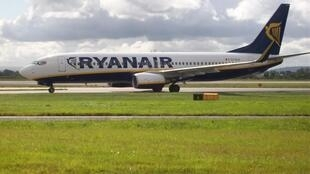 Aeronave da Ryanair pousa no aeroporto de Manchester, nos Estados Unidos,