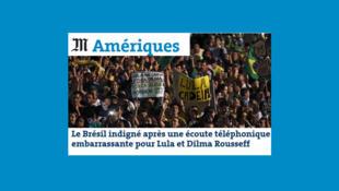A crise política no Brasil é uma das principais manchetes do site do jornal francês Le Monde desta quinta-feira, 17.