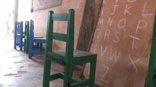 No blackboard at Anumle's school.