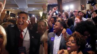 Eleitores republicanos comemoram, ao lado do senador Rick Scott (à esquerda), e democratas celebram a vitória na Câmara dos Representantes (à direita).