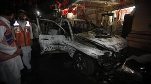 The target of a Taliban suicide bombing in Peshawar on 16 April