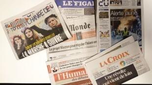 Primeiras páginas dos jornais franceses de 23 de novembro de 2018