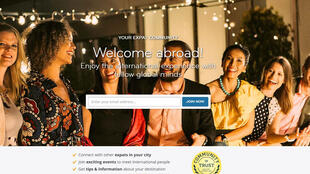 Capture d'écran de la page d'accueil du site «InterNations».