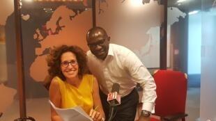 Emmanuelle Bastide et le coach des Jpag, Didier Acouetey.