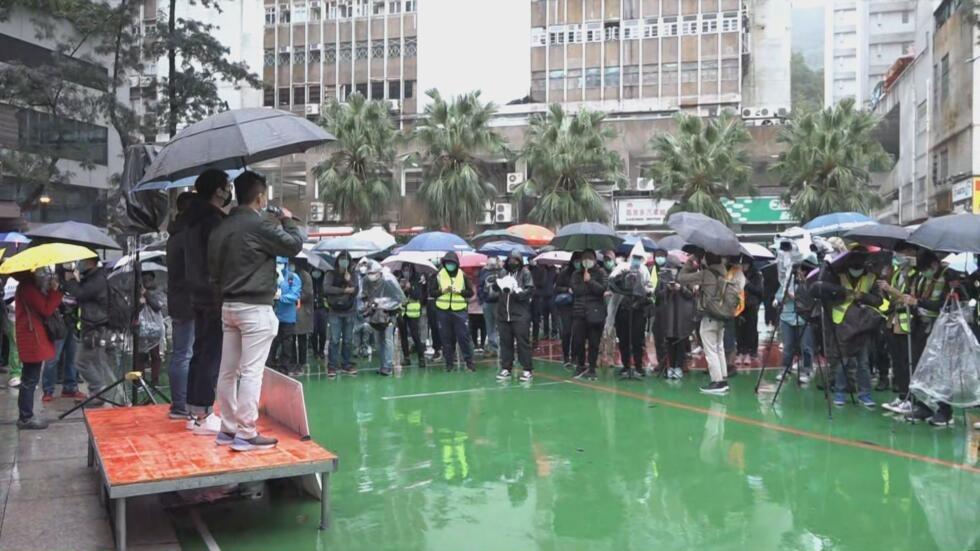 香港民众集会反对社区设立检疫中心资料图片
