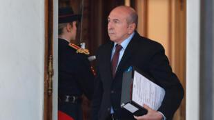 Le ministre de l'Intérieur Gérard Collomb à sa sortie du conseil des ministres à l'Elysée le 8 février 2018.