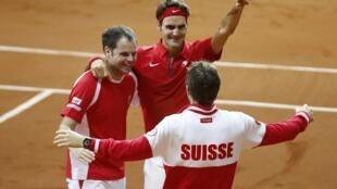 Швейцарцы празднуют победу, Лилль, 23 ноября 2014 года