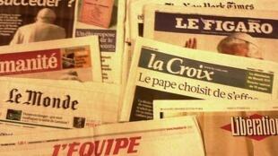 Capas dos diários franceses do dia 12 de Fevereiro de 2013