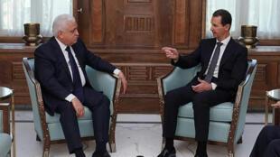Le président syrien Bachar el-assad en compagnie de Faleh al-Fayad, conseiller du Premier ministre irakien pour la sécurité nationale, le 17 octobre 2019.