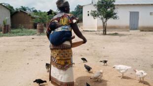 Une femme nourissant ses poules en Côte d'Ivoire (image d'illustration).