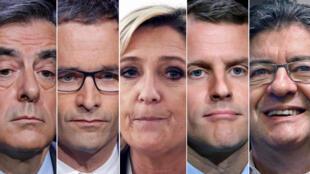 Пять главных кандидатов в президенты Франции: (слева направо) Франсуа Фийон, Бенуа Амон, Марин Ле Пен, Эмманюэль Макрон и Жан-Люк Меланшон.