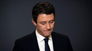 Benjamin Griveaux durante a coletiva em que renunciou concorrer à prefeitura de Paris, nesta sexta-feira (14°.