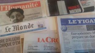 Primeiras páginas dos jornais franceses de 14 de setembro de 2018