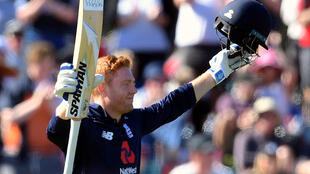 England's Jonny Bairstow celebrates after reaching his century during the final one-day international against New Zealand