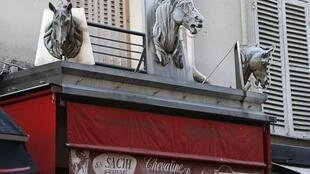 The front of a horse butcher's shop in Paris
