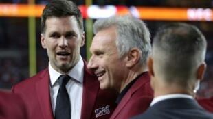 Tampa Bay Buccaneers quarterback Ton Brady, left, chats with NFL legend Joe Montana, center, at last month's Super Bowl