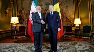 Ngoại trưởng Bỉ Didier Reynders và đồng nhiệm Iran Mohammad Javad Zarif tại Bruxelles (Bỉ) ngày 11/01/2018.