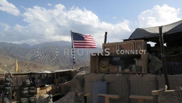飄揚在阿富汗一個地區的美國國旗 2018年7月7日