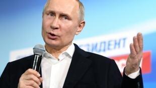 Президент России Владимир Путин во время предвыборной кампании в 2018 году