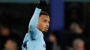 Gabriel Jesus scored Manchester City's second goal at Everton.
