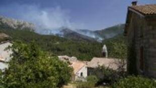 A fire in the forest close to Palneca in Corsica on 3 August