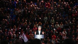 Tổng thống kiêm ứng viên tổng thống Ukraina Petro Poroshenko tại một cuộc mít tinh tranh cử ở Kiev (Ukraina), ngày 09/02/2019.