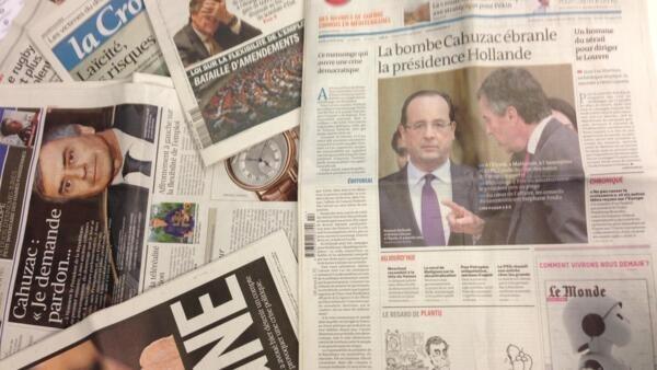 Capas dos diários franceses do dia 3 de Abril de 2013