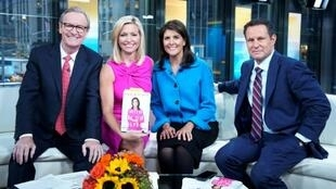 Fox host Ainsley Earhardt (in pink) pictured with her fellow presenters and former UN Ambassador Nikki Haley in 2019, was hit with a torrent of angry tweets