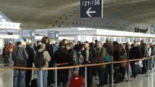 A queue at Paris's Roissy/Charles De Gaulle airport