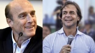 O candidato do governo, o socialista Daniel Martínez e o candidato da oposição, o liberal Luis Lacalle Pou