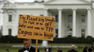 Một người chống Hiệp định TPP biểu tình trước Nhà Trắng tại Washington ngày 03/02/2016.