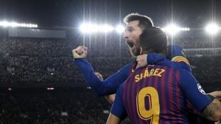 Lionel Messi y Luis Suarez, goleadores frente a Liverpool, el primero de Mayo 2019.