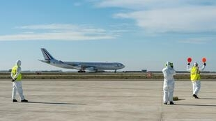 A plane carrying French nationals repatriated from Wuhan in China amid the new coronavirus outbreak, landed at Istres Air Base near Marseille.