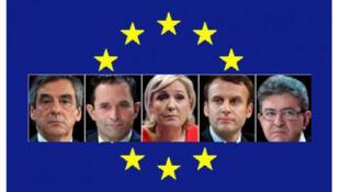 François Fillon, Benoît Hamon, Marine Le Pen, Emmanuel Macron et Jean-Luc Mélenchon.