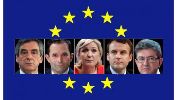 Manyan yan takara François Fillon da Benoît Hamon da Marine Le Pen da Emmanuel Macron da Jean-Luc Mélenchon.