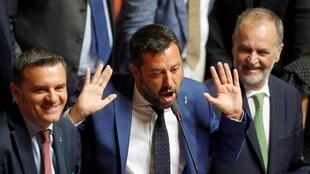 Italian Deputy Prime Minister and League party leader Matteo Salvini gestures at the upper house as the senate meets to set a date for a motion of no confidence in the government in Rome, Italy August 13, 2019