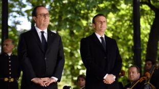 法国现总统奥朗德和待任总统马克龙资料图片