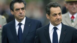 Франсуа Фийон (слева) и Николя Саркози