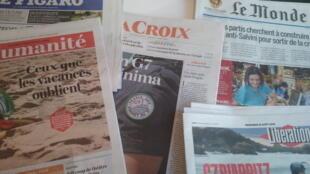 Primeiras páginas dos jornais franceses 21 de agosto de 2019