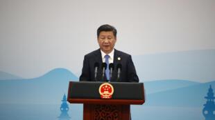 Chủ tịch Trung Quốc Tập Cận Bình đọc diễn văn bế mạc thượng đỉnh G20 Hàng Châu, Chiết Giang, ngày 05/09/2016.