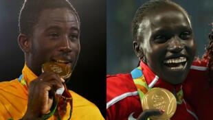 Le taekwondoïste ivoirien Cheick Cissé et l'athlète kenyane Vivian Cheruiyot, médaillés d'or aux JO 2016.