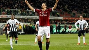 Zlatan Ibrahimovic sous le maillot de l'AC Milan, en décembre 2011.