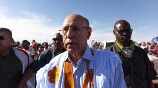 Mohamed Ould Gazhouani, candidat du parti au pouvoir pour la présidentielle du 22 juin 2019 en Mauritanie, arrive pour un meeting à Chinguetti, le 11 avril 2019.