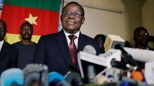 Maurice Kamto of the Movement for the Rebirth of Cameroon at a news conference in Yaounde.