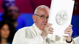 Le pape François lors d'une rencontre avec la jeunesse italienne, à Rome, le 11 août 2018.