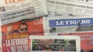 Primeiras páginas dos diários franceses 18/08/2016