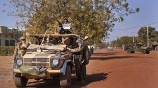 French army vehicle in the Malian town of Markala.
