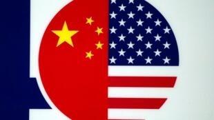 上海國際食品創新展上出現的中美建交40周年的標識 2019年5月14日