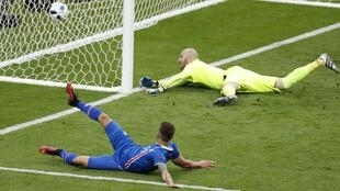 Arnor Ingvi Traustason scored in the dying seconds to give Iceland their first victory at a major international foootball tournament.